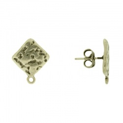 Rhombus ear stud 15x15mm with loop