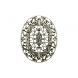 Oval filigree metal component 27x20mm