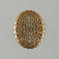 Oval filigree metal component 45x36mm
