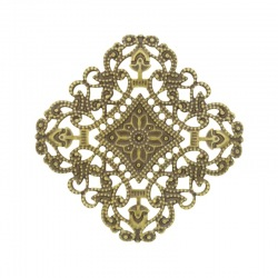 Square filigree metal component 49x49mm