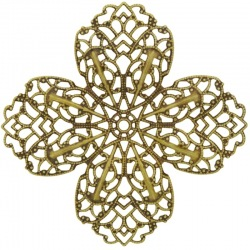 flower filigree metal component 66x66mm