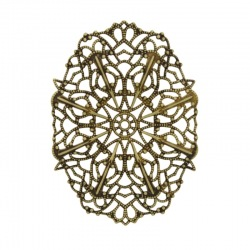 Oval filigree metal component 59x41mm