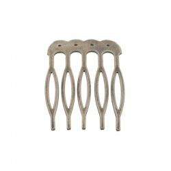 Metallic drilled hair comb 26x39mm (5 spikes)