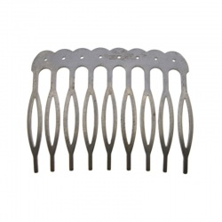 Metallic drilled hair comb 48x39mm (9 spikes)