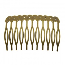 Metallic drilled hair comb 60x39mm (11 spikes)