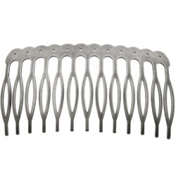 Metallic drilled hair comb 70x39mm (13 spikes)