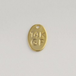 "Plaque engraved ""14K GF"" 10x7mm"