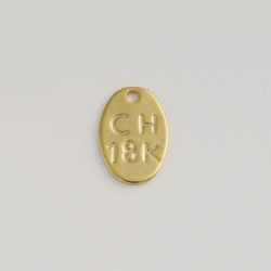"Plaque engraved ""CH 18K"" 10x7mm"