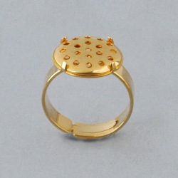 Adjustable ring with Ø 14mm flat base and metal mesh