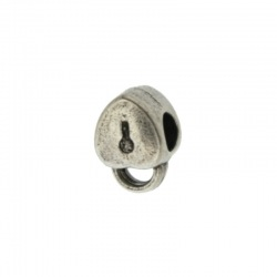 Padlock metal bead 12x8mm. Hole Ø 4mm.