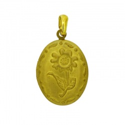 Oval box pendant with a flower 30x18mm