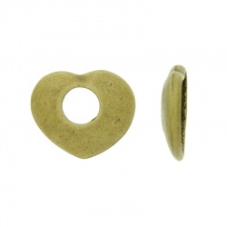 Heart metal bead 20x24mm. Hole 8mm