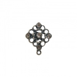 Rhombus ear stud 22x19mm to 5 PP25 strass with loop