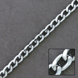 Silver plated aluminium chain width 5,6mm
