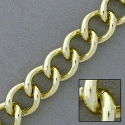 Gold plated aluminium chain width 14,9mm