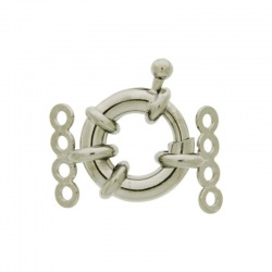 Spring ring clasp Ø 14mm + 2 ends with 4 strands