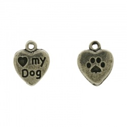 "Heart ""my dog"" pendant 15x12mm"