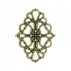 Oval filigree metal component 40x31mm