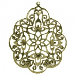Oval filigree metal component 59x49mm