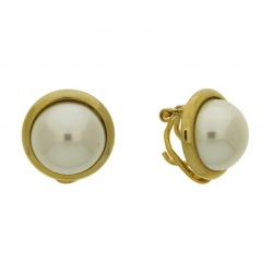 Earring with omega clip with half pearl Ø12mm