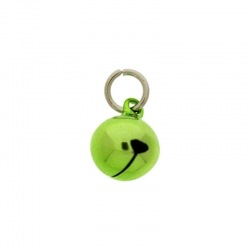 Jingle bell Ø 12mm green colour with round jump ring Ø8x wire Ø1,2mm assembled.
