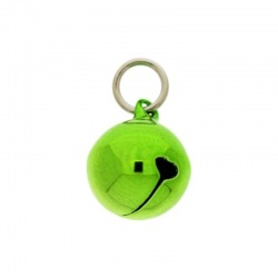 Jingle bell Ø 16mm green colour with round jump ring Ø9x wire Ø1,4mm assembled.