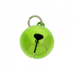 Jingle bell Ø 20mm green colour with round jump ring Ø9x wire Ø1,4mm assembled.