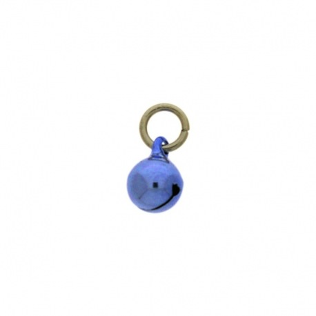 Jingle bell Ø 8mm blue colour with round jump ring Ø7x wire Ø1,2mm assembled.