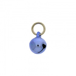 Jingle bell Ø 10mm blue colour with round jump ring Ø8x wire Ø1,2mm assembled.