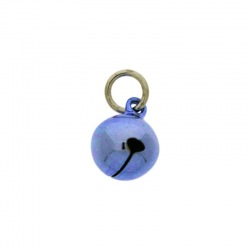 Jingle bell Ø 12mm blue colour with round jump ring Ø8x wire Ø1,2mm assembled.
