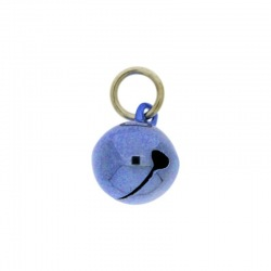 Jingle bell Ø 14mm blue colour with round jump ring Ø8x wire Ø1,2mm assembled.