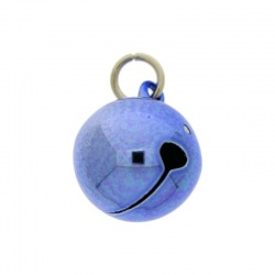 Jingle bell Ø 20mm blue colour with round jump ring Ø9x wire Ø1,4mm assembled.