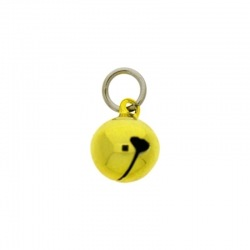 Jingle bell Ø 12mm yellow colour with round jump ring Ø8x wire Ø1,2mm assembled.