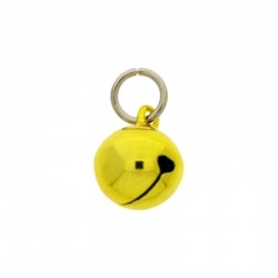 Jingle bell Ø 14mm yellow colour with round jump ring Ø9x wire Ø1,4mm assembled.