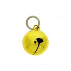 Jingle bell Ø 16mm yellow colour with round jump ring Ø9x wire Ø1,4mm assembled.