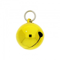 Jingle bell Ø 20mm yellow colour with round jump ring Ø9x wire Ø1,4mm assembled.