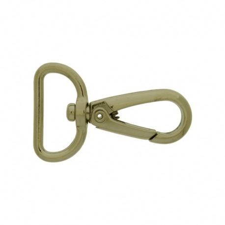 Nickel plated zamak lobster clasp for bag with gap width 22,5mm to ribbon.