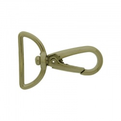 Nickel plated zamak lobster clasp for bag with gap width 25mm to ribbon.