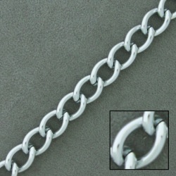 Silver plated aluminium chain width 8mm