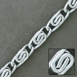 Silver plated aluminium chain width 9mm