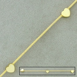 Snake brass chain Ø 1,2mm. Ornament heart width 5,5mm