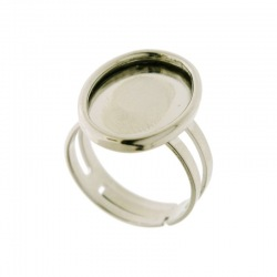 Adjustable ring with base for oval cabochon 12x18mm