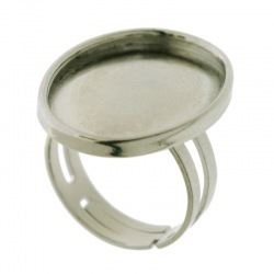 Adjustable ring with base for oval cabochon 18x25mm