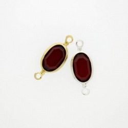 Oval strass 8x12mm ruby colour. Length 21mm