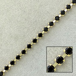 Brass chain black strass SS12